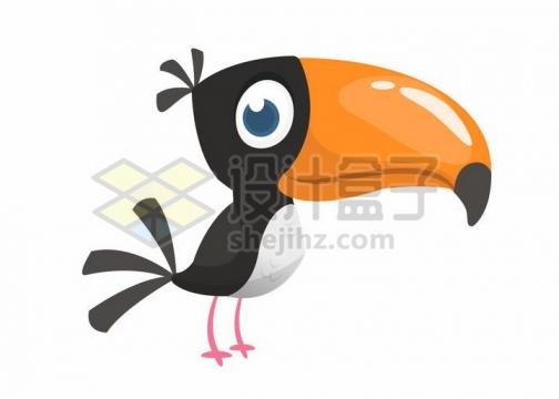 黑色的卡通巨嘴鸟png图片免抠矢量素材