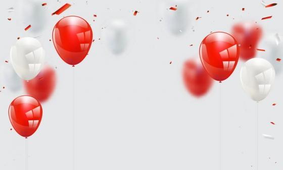 红色白色气球和撕纸效果图片免抠素材