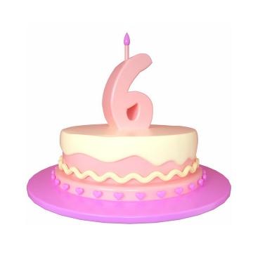 C4D风格6周岁生日快乐蛋糕png图片免抠素材