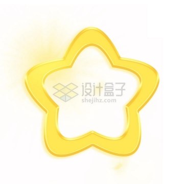 发光的空心金黄色可爱卡通圆润五角星png图片免抠素材
