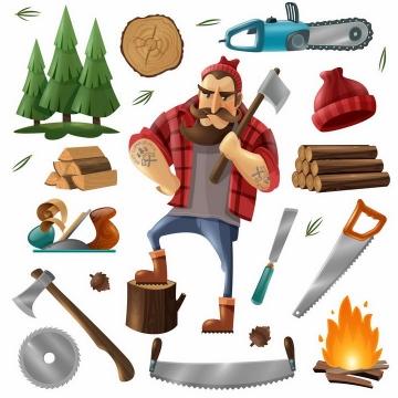 卡通漫画森林电锯木材篝火伐木工人png图片免抠矢量素材