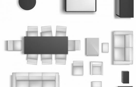 俯视视角的黑白色沙发床电视柜餐桌等家具平面图png图片免抠矢量素材