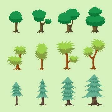 12款各种手绘风格的树木图片免扣素材