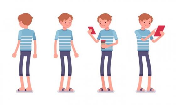 4款微笑的卡通男孩图片免抠矢量素材