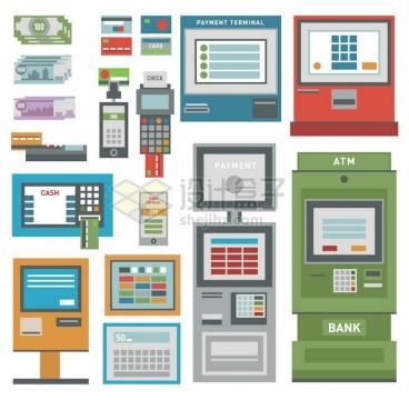 扁平化风格钞票ATM机POS机等银行金融设施png图片免抠矢量素材