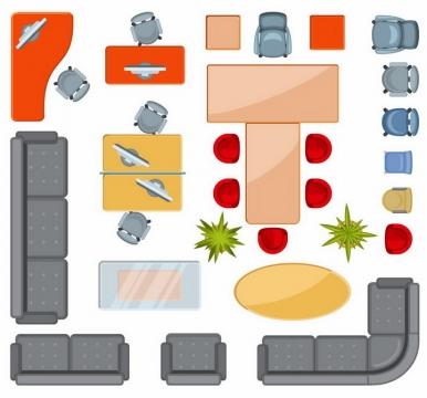 俯视视角的办公桌沙发会议桌转椅等办公家具平面图png图片免抠矢量素材