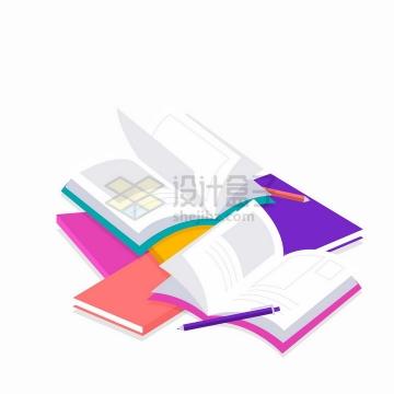 一堆打开的书本和作业本世界读书日扁平插画png图片免抠矢量素材