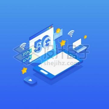 2.5D风格采用5G通信技术的手机和笔记本电脑png图片素材