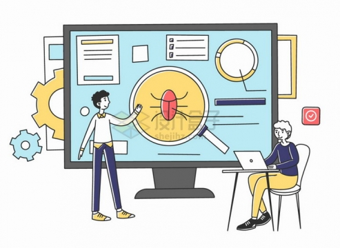 正在排查程序BUG的两个程序员手绘插画png图片素材