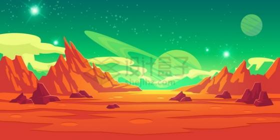 红色的外星球表面山脉和绿色的天空风景插画png图片素材