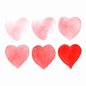 从粉红到深红色的水彩画手绘红心图案图片免抠素材