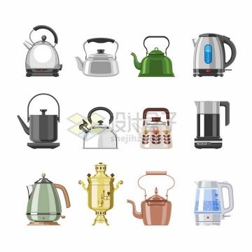 12款煤气灶烧水壶电水壶茶壶等厨房用品小家电png图片免抠矢量素材