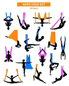 16款彩色吊带瑜伽黑色瑜伽美女剪影图片大全免扣素材