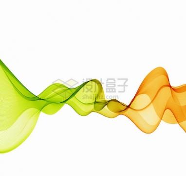 唯美风格绿色橙色波浪线组成的装饰图案png图片免抠矢量素材
