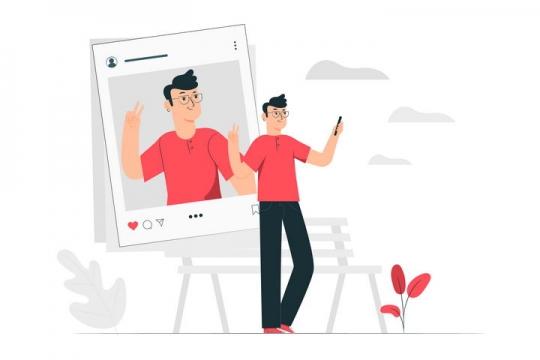 扁平插画风格正在用手机拍照的小伙子配图图片免抠素材