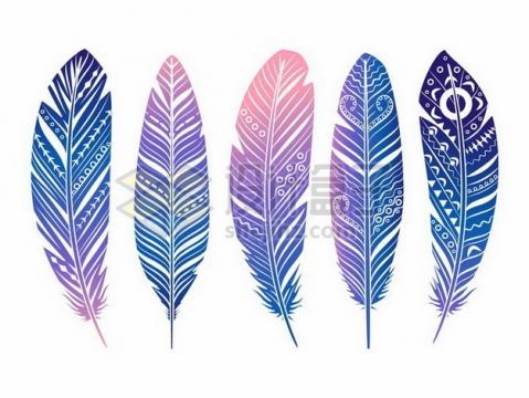 5款抽象彩色图案风格羽毛png图片素材