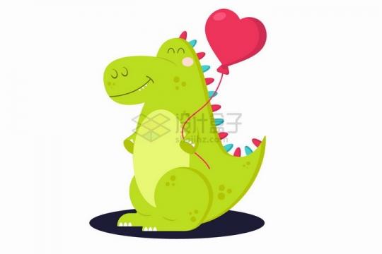超可爱卡通绿色恐龙拿着心形气球png图片免抠矢量素材