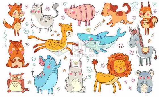 卡通狐狸猫咪小猪狗狗鲨鱼大象狮子猫头鹰等可爱动物儿童画png图片免抠矢量素材