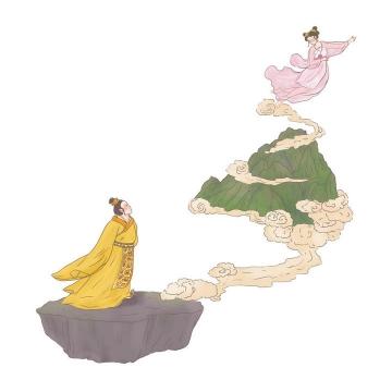 巫山神女中国传统神话人物传说故事手绘彩色插图图片免抠png素材