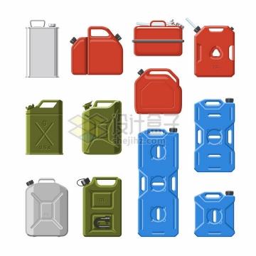 12款汽油桶塑料桶铁皮桶png图片免抠矢量素材