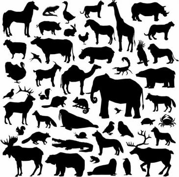 斑马蜥蜴长颈鹿骆驼大象海豹北极熊麋鹿鳄鱼等各种野生动物剪影png图片免抠矢量素材