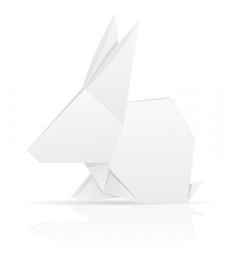 用白纸折叠的小兔子折纸玩具童年回忆系列免抠矢量图片素材