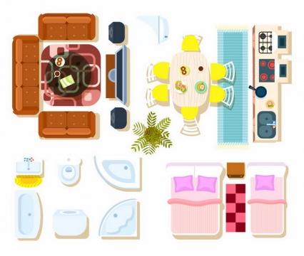 俯视视角扁平化风格的沙发床电视柜餐桌浴缸洗手池等家具平面图png图片免抠矢量素材
