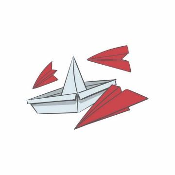 淡蓝色折纸船和红色纸飞机png图片免抠矢量素材