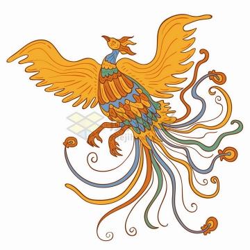 飞舞的凤凰彩色手绘插画png图片免抠矢量素材