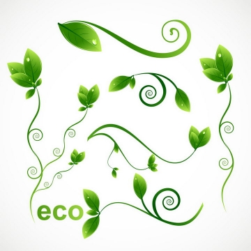 各种卷曲的绿色树叶装饰图片免抠素材