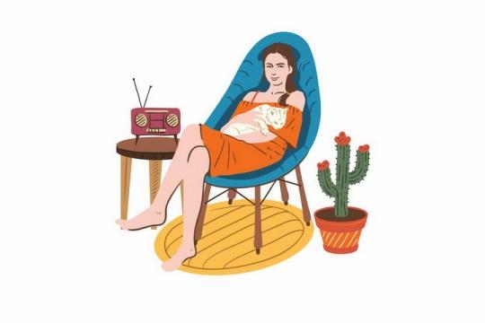 插画风格抱着猫咪躺在躺椅上听收音机的美女png图片免抠矢量素材