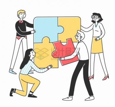 正在拼图的商务人士象征了团队合作手绘插画png图片素材
