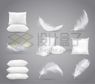 白色羽毛和枕头png图片免抠矢量素材