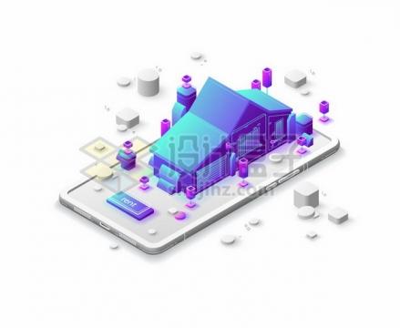 3D手机上的紫色房子建筑345286png矢量图片素材