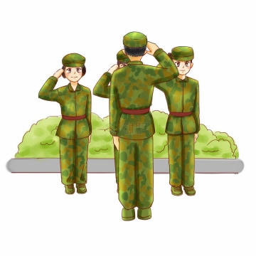 身穿迷彩服的大学军训和教官敬礼png图片免抠素材