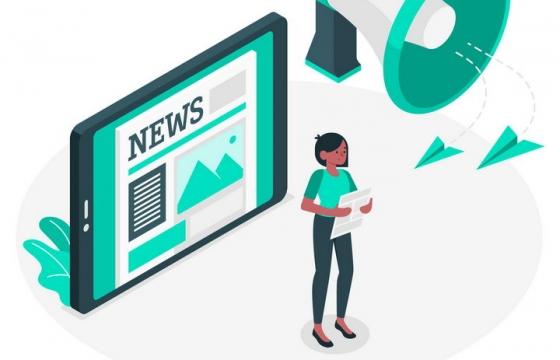 绿色扁平插画风格正在播送新闻的播音员媒体配图图片免抠素材