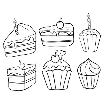 6款手绘生日蛋糕简笔画图片免抠素材