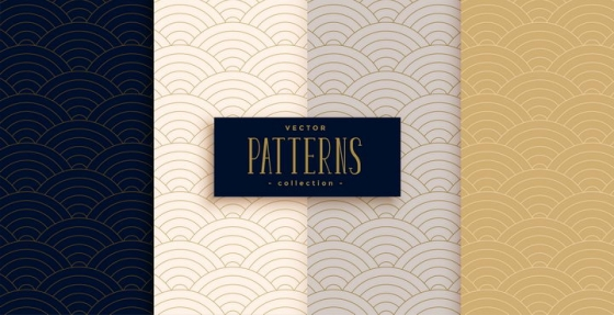 4款金色中国传统波浪条纹花纹装饰背景图片
