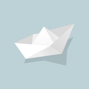 扁平化风格的灰白色折纸船png图片免抠矢量素材