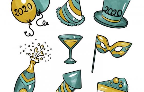 手绘风格派对气球魔法帽等图片免抠矢量图