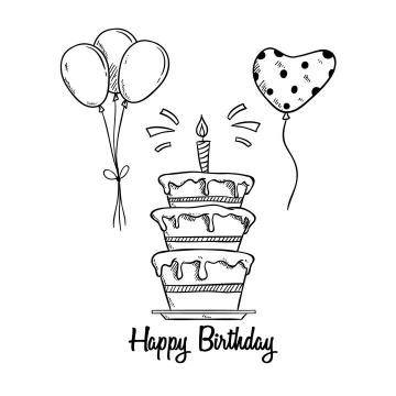 手绘生日蛋糕生日气球简笔画图片免抠素材