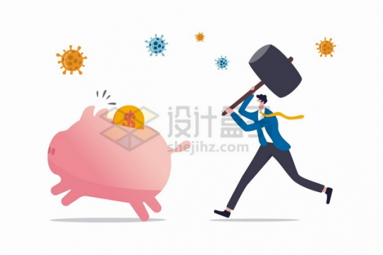 新型冠状病毒疫情下商务人士拿着锤子追储蓄罐象征了经济危机png图片素材