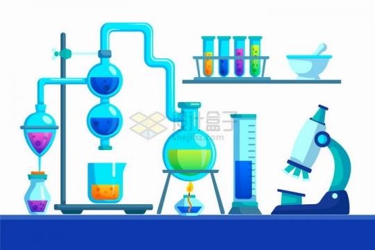 蓝紫色的化学实验仪器扁平插画png图片免抠矢量素材