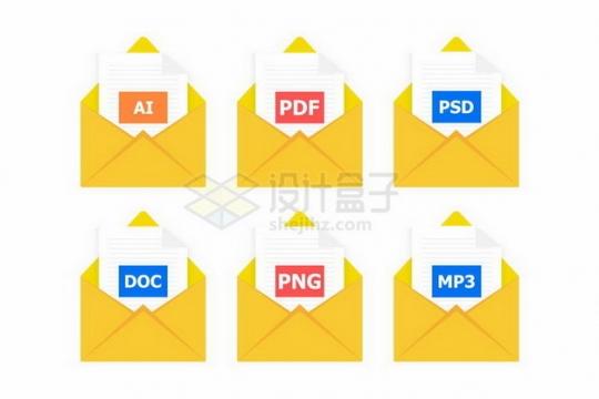 黄色文件夹风格AI/PSD/PSD/DOC/PNG/MP3等格式文件图标png图片免抠矢量素材