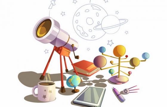 卡通漫画风格的天文望远镜和地球仪等科普物品png图片免抠矢量素材
