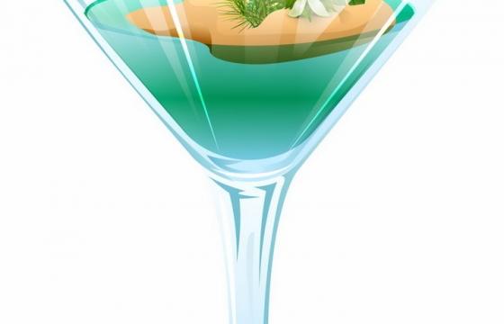 抽象酒杯中的长着椰子树的热带海岛png图片免抠矢量素材