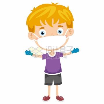 卡通男孩戴着口罩和手套预防新型冠状病毒png图片免抠矢量素材