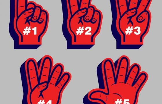 红色数字手势从1到5图片免抠素材