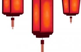 红色四方形灯笼图片免抠素材