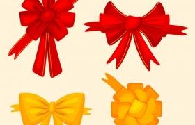 4款红色黄色蝴蝶结装饰图片免抠矢量图